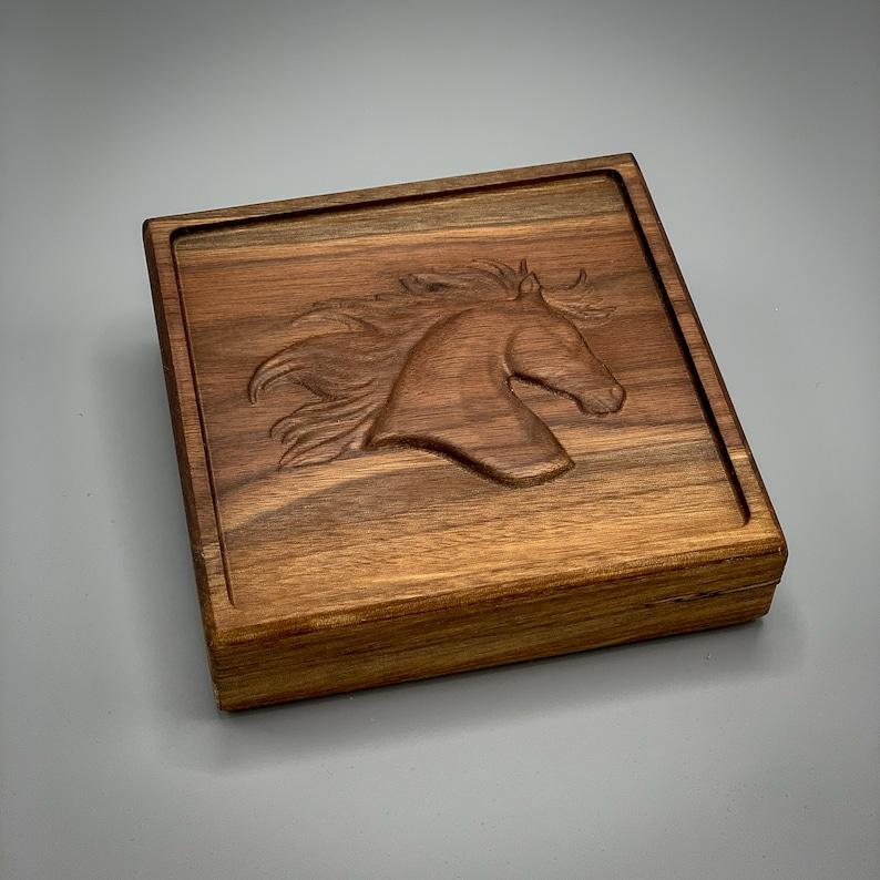 Black Walnut Square Box with Horse ~ 6