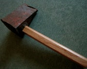 Antique Splitting Maul Head on New Oak Handle for Doorstop, Decoration, Etc.
