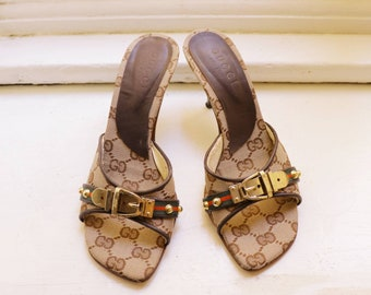 2dfdff7ec Vintage Gucci sandals heels GG logo monogram