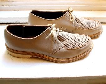 bb13d2cc098e9 ROCKABILLY SWING JIVE 1950 s vintage perforated two laces beige men s shoes