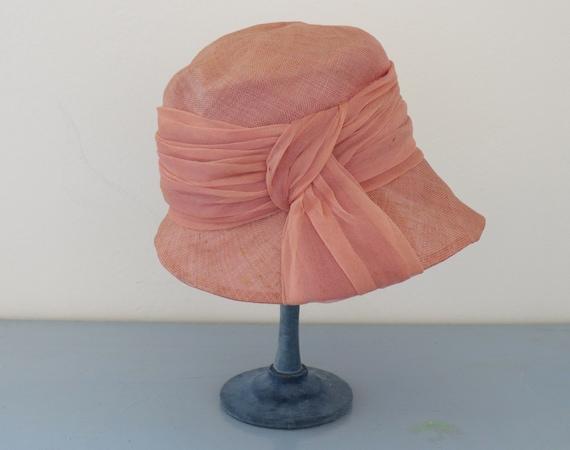 vintage 1940's pink sisal straw summer hat / vint… - image 5