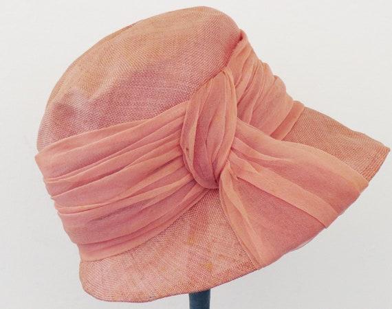 vintage 1940's pink sisal straw summer hat / vint… - image 2
