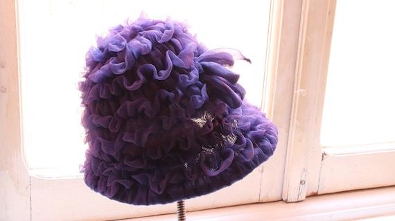 vintage organza crepe ruffled  purple  cloche hat