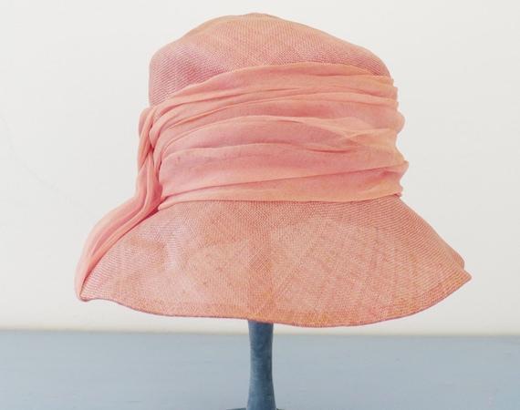 vintage 1940's pink sisal straw summer hat / vint… - image 3