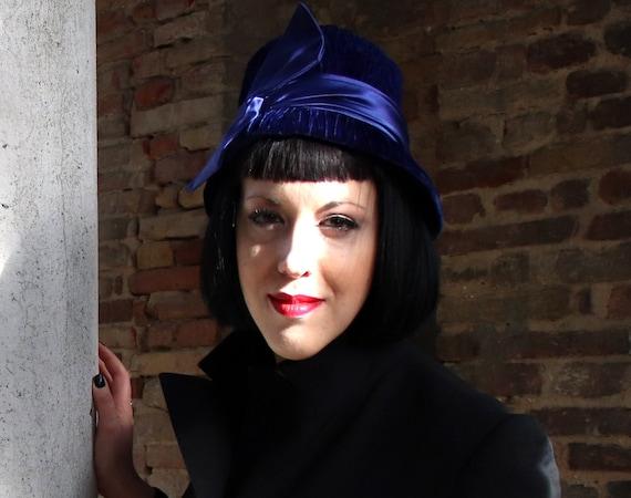 40's vintage, original  blue/purple velvet and sa… - image 4