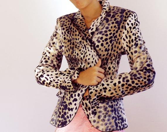 Animal print blazer 90's vintage / leopard print b