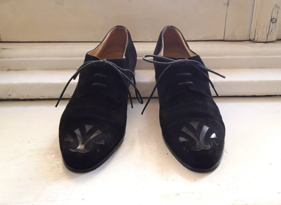 KRIZIA Milano vintage 1980's lace up oxford black