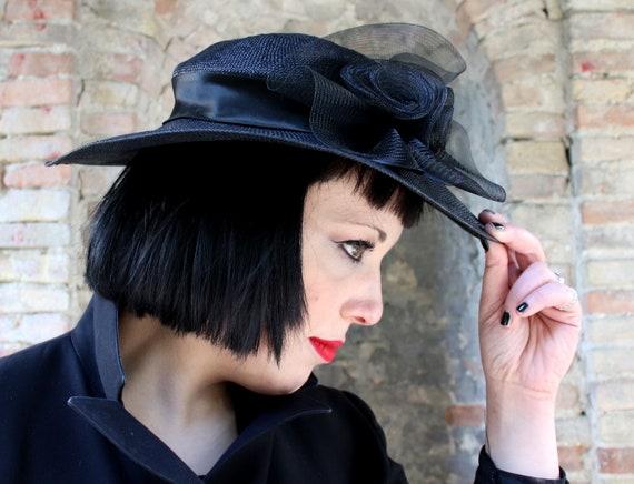 Sinamay black large fascinator hat, vintage 1940's