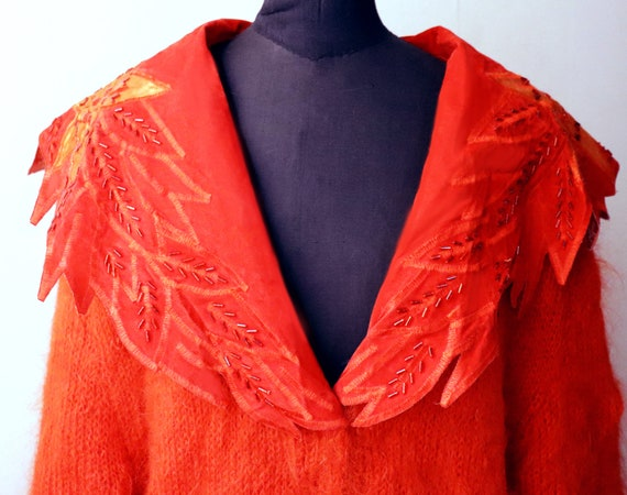vintage 1980's red fluffy mohair wool cardigan / r