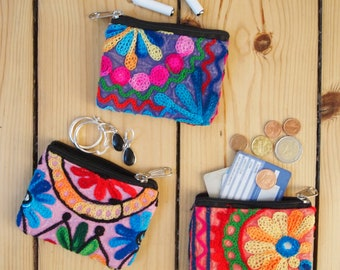 Mini wallet, small purse fabric, credit cards, bag, purse, jewelry, headphones, boho, floral, flowers, gift for her