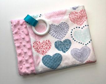 Teething  Blanket, Minky, Multicolor, Rainbow Hearts + Light Pink, Lovey, Teether, Snuggle Blanket