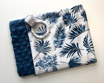 Teething  Blanket, Minky, Plants, Leaves + Blue, Gender Neutral