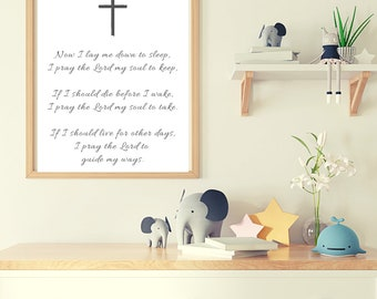 Now I Lay Me Down to Sleep, Bedtime Prayer, Nursery Decor, Child Room Decor, Wall Art, Digital PDF Download, 11x14