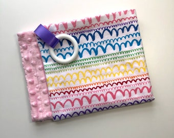 Teething  Blanket, Flannel + Minky, Silicone Teether, Satin Ribbon, Lovey, Rainbow + Light Pink