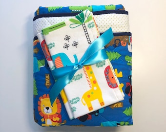 Wild Animals Gift Set, Zoo Animals, Hiking, Burp Cloths, Baby Quilt, Multicolor Quilt, Polka Dots, Bright Quilt, Christmas Gift/Holiday Gift