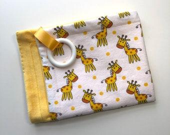 Teething  Blanket, Flannel + Minky, Silicone Teether, Satin Ribbon, Giraffe, Gender Neutral, Yellow