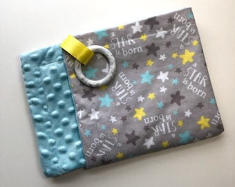 Teething  Blanket, Flannel + Minky, Silicone Teether, Satin Ribbon, A Star is Born, Light Blue, Gray, Gender Neutral