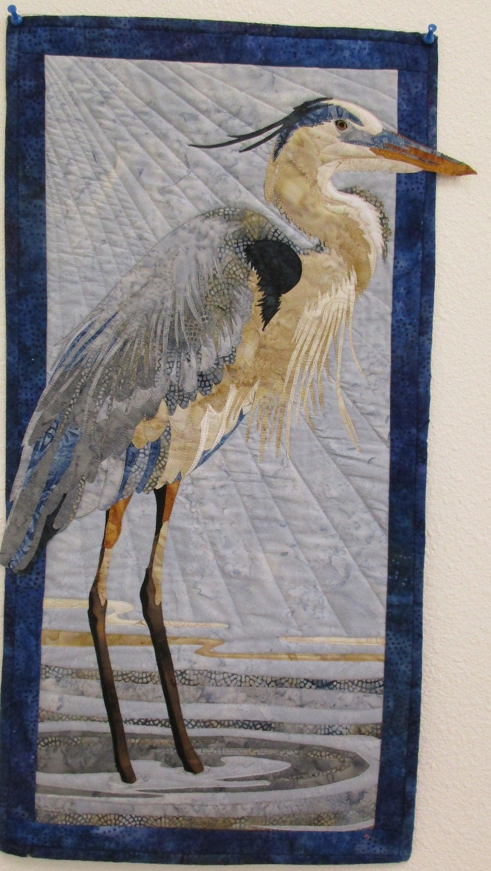 Fait à la main, Art Quilt, grand héron, amateurs amateurs amateurs d'oiseaux, matelassé couette matelassée tenture murale, Quilt artistique, décoration murale, cadeau, à vendre 3ed711
