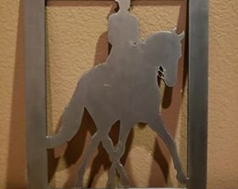 Metal Dressage Horse & Rider with Thick Frame