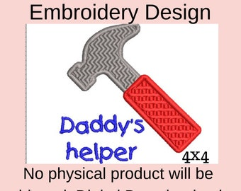 daddys helper machine embroidery designs baby announcement husband, embroidery files vp3, embroidery pattern, first fathers day gift, DIY