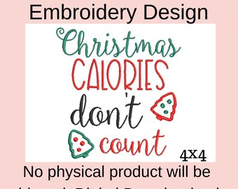 Christmas calories don't count machine embroidery designs for kitchen towels, digital embroidery pattern chef, Christmas applique designs