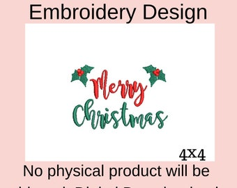 Merry Christmas embroidery design, holly embroidery design, machine embroidery designs Christmas applique designs, digital embroidery file