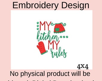 my kitchen my rules, machine embroidery designs for kitchen towels, digital embroidery pattern chef, embroidery file pes, apron embroidery