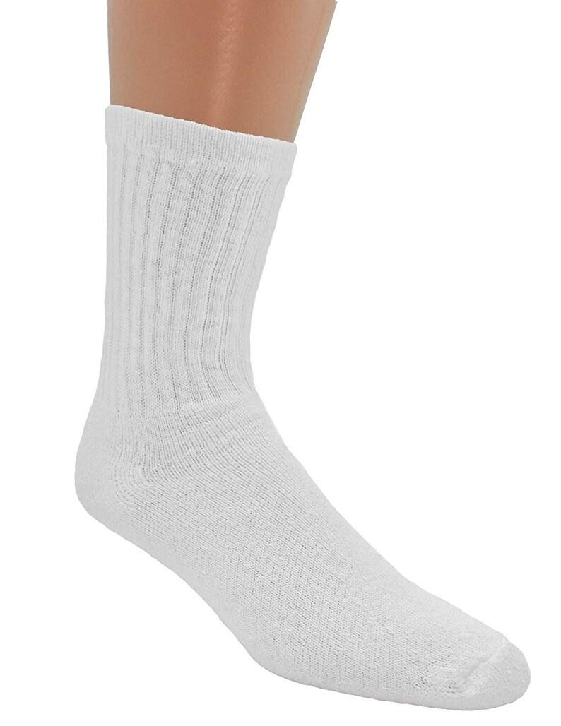 1 Dozen White MDR American Made Athletic White Cotton Athletic Crew Socks