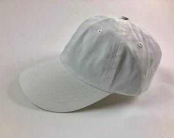 9610a0cc2df Unisex White Dad Cap Baseball Hat Plain Blank Low Profile Twill Cotton