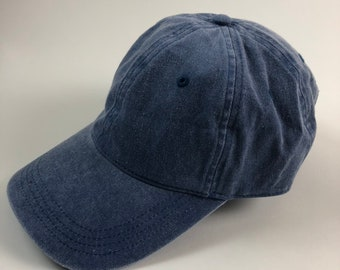 6ca2fa415a0 Unisex Blue Denim Dad Cap Baseball Hat Plain Blank Washed Distressed Low  Profile Twill Cotton