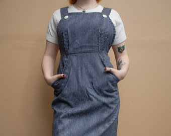 1970's Railroad Stripe Apron Dress