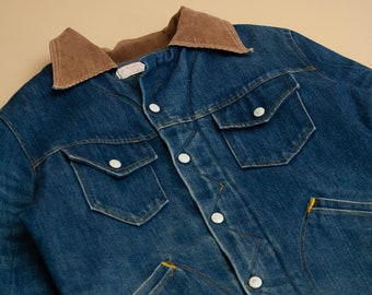 1970's Fleece Lined Denim Jacket with Corduroy Collar