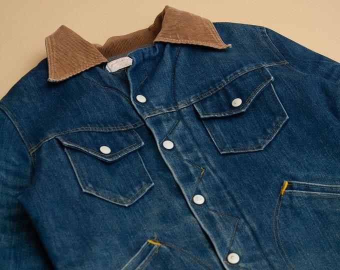 1970's Fleece Lined Denim Jacket with Corduroy Collar
