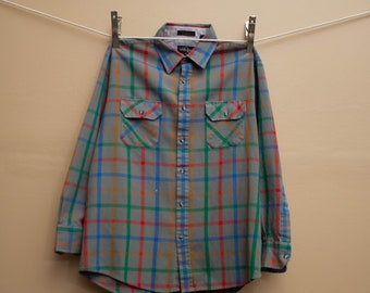 1980's Plaid Button Down