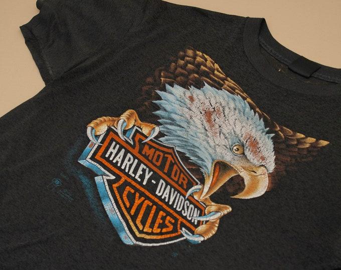 1987 Harley Davidson 3D Emblem Eagle T-Shirt