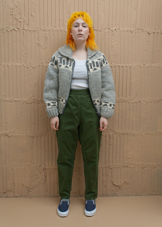 1980's Olive Green Military Side Zip Pants
