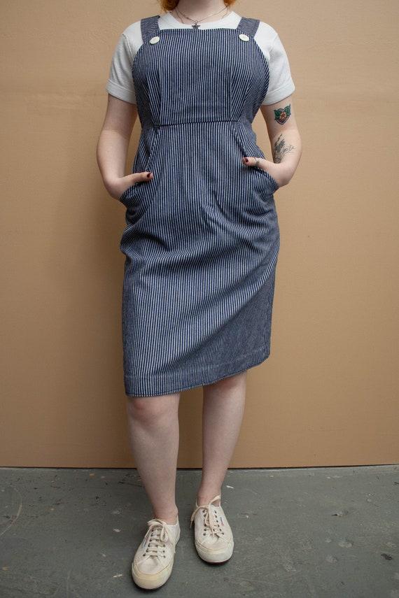 1970's Railroad Stripe Apron Dress