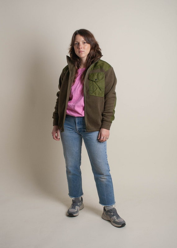 1980's Olive Green Long Sleeve Fleece