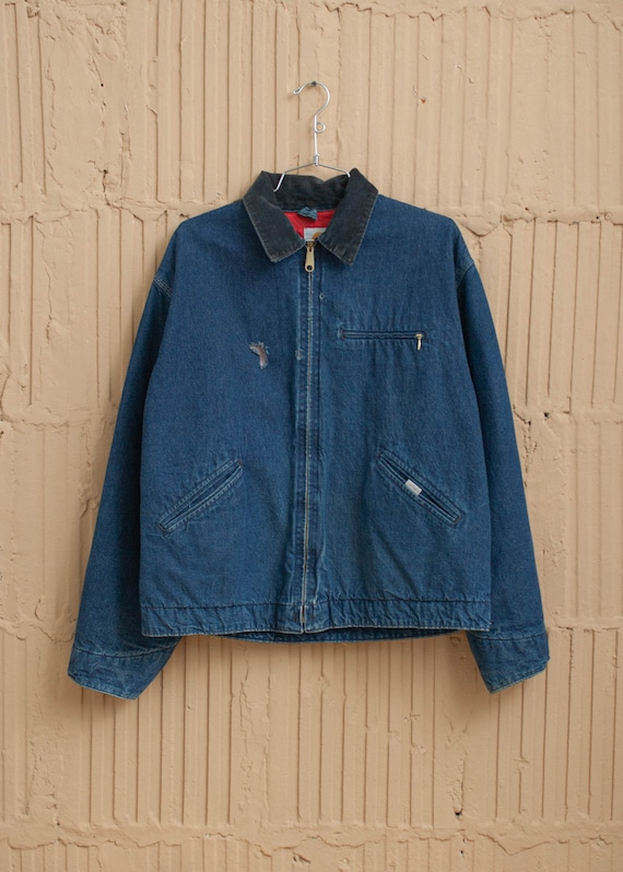 1990's Carhartt Denim Bomber Jacket with Quilted L