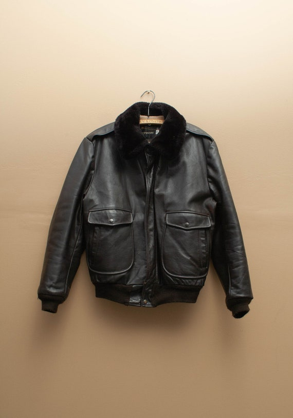 1970's Fur Lined JC Penney Leather Aviator Jacket
