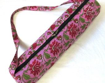 Indian Handmade Yoga Mat Bag Cotton Mat Forest Tree Of Life New Hand Block Print Sports Bag Gym Bag , Zip Bag With Travel Bag Shoulder Strap