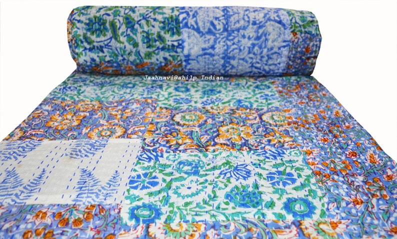 100/% Cotton Ethnic Hand Block Print Indian Ralli Bedding Bed Cover Kantha Quilt Bedspread Throw Applique Blanket Vintage Patch Work Printed