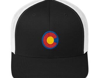 e1a0b01f Colorado Flag Trucker Hat, Mile High Merch, Boulder, Rocky Mountain High,  Denver, Hiking, Camping, Exploring, Climbing, Spring, Summertime