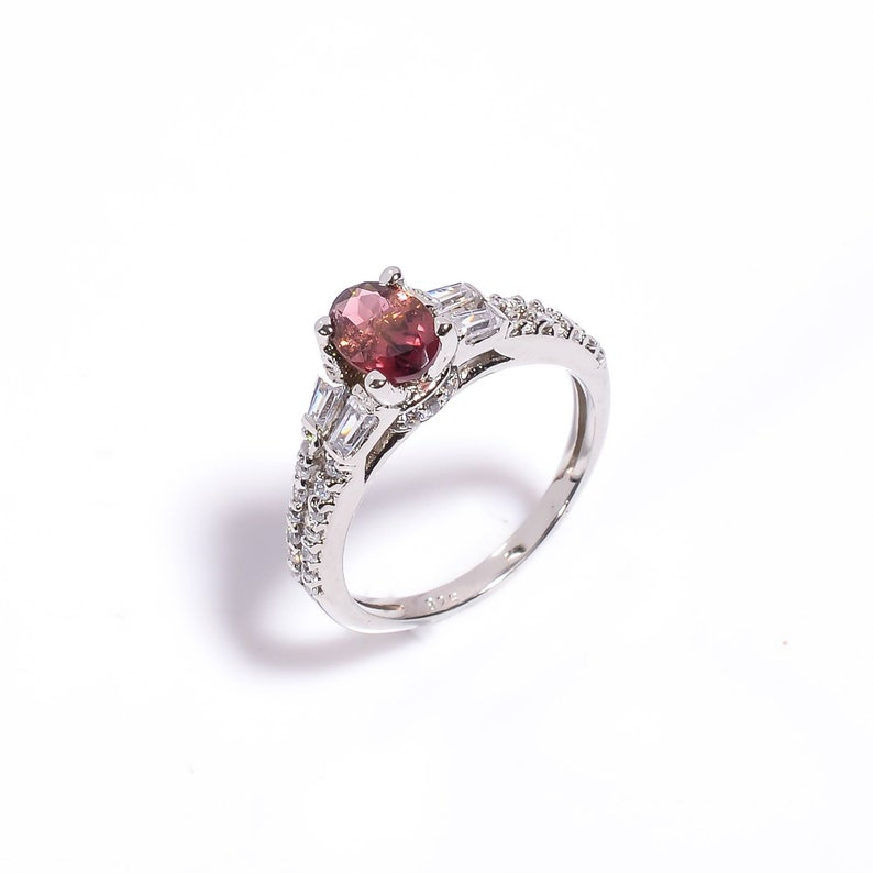 Natural Pink Tourmaline Cubic Zircon Handmade Ring Size USCA 6.5 925 Sterling Silver Oval Stone Ring Gift Christmas Ring. Tourmaline Ring