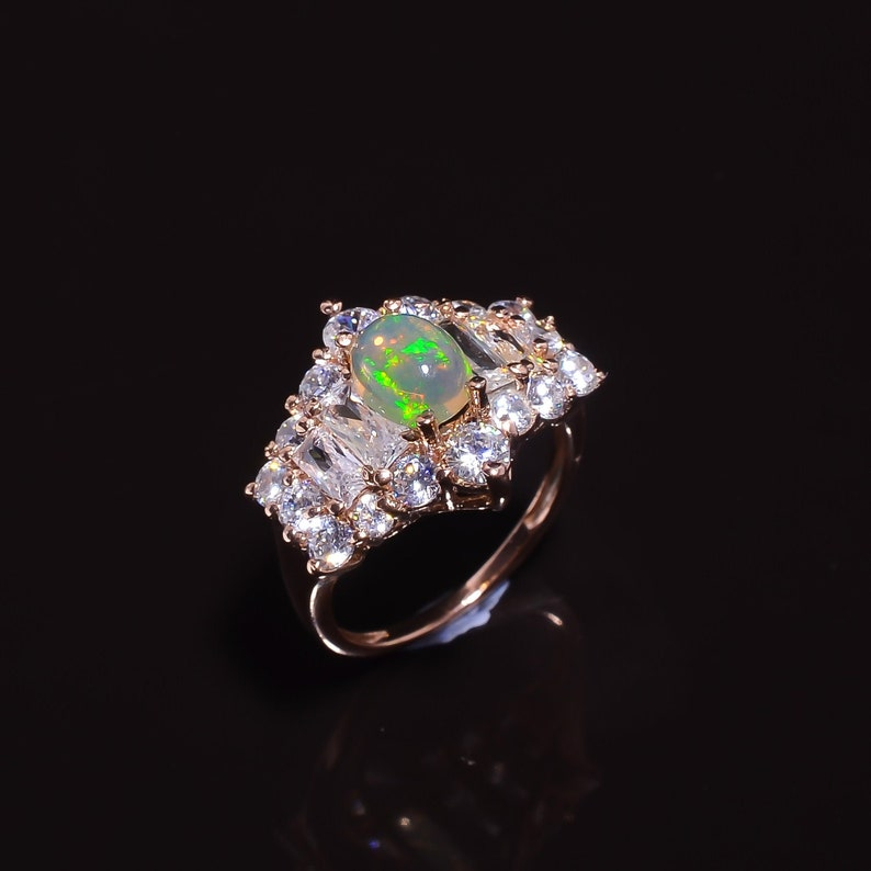 Opal Cubic Zirconia Rose Gold Plated 925 Sterling Silver Rings For Women Opal Silver Ring Promise Ring Bridal Ring Anniversary Ring Gift mom