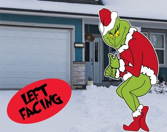huge outdoor grinch stealing christmas lights 48h x 23w yard decoration left