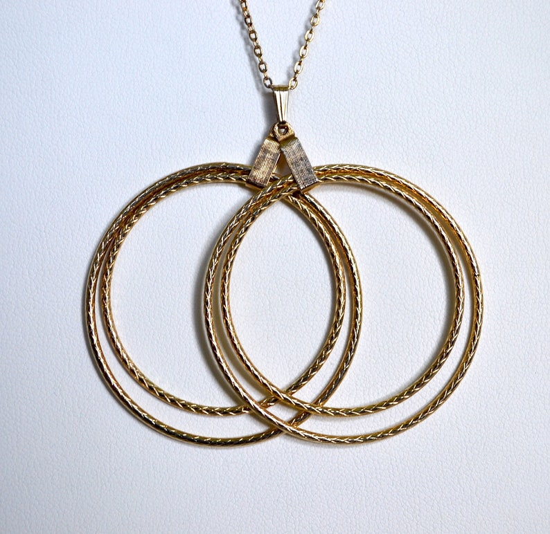 4 Hoop Necklace 1950/'s Gold Hoop Clip On Earrings Wife Gift for Her Sarah Coventry Vintage Earrings and Matching Necklace  2 Piece Set