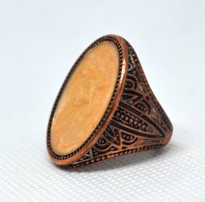 Funky 7th Anniversary Gift Bohemian Round Inlay Hippie Chunky Copper Statement Ring  Large Oval Rose Copper Retro Ring Boho Rustic