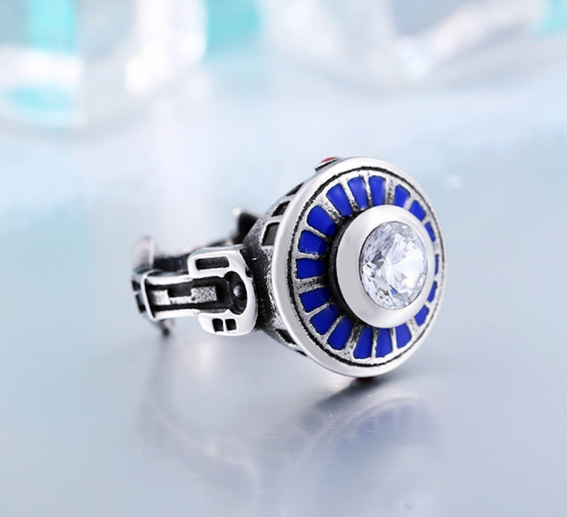 Stainless Steel Ring Silver and Blue Star Wars R2D2 Inspired  Ring 3D Ring Geek Style Unique Gift Movie Ring Geometric Ring
