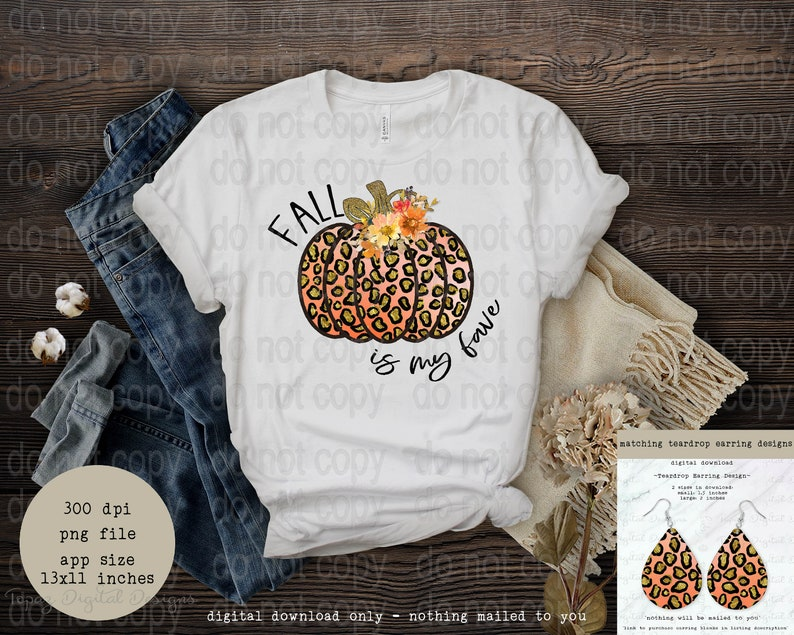 Digital Download Only {faux glitter orange /& gold leopard pumpkin} ~ Fall is my Fave ~ SublimationPNG ~ matching earring design available